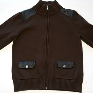 Chaps full zip turtleneck knit sweater mens Large